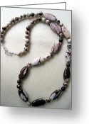 Artisan Jewelry Jewelry Greeting Cards - Cappuccino Jasper Opera Necklace Greeting Card by Susan OHiggins