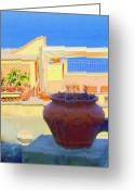 Portico Greeting Cards - Capri View of Ocean Greeting Card by Mindy Newman