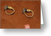 Gold Earrings Photo Greeting Cards - Caprine-head earrings Greeting Card by Andonis Katanos