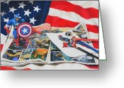 Comic. Marvel Greeting Cards - Captain America Greeting Card by Joanne Grant