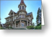 The Haunted House Greeting Cards - Captain George Flavel Victorian House - ASTORIA OREGON Greeting Card by Daniel Hagerman