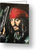 Pirates Painting Greeting Cards - Captain Jack Sparrow Greeting Card by Tom Carlton