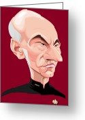Starship Enterprise  Greeting Cards - Captain Jean Luc Picard Greeting Card by Kevin Greene