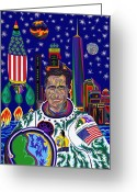 Outerspace Greeting Cards - Captain Mitt Romney - American Dream Warrior Greeting Card by Robert  SORENSEN