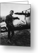 War Plane Greeting Cards - Captain Rickenbacker Greeting Card by War Is Hell Store
