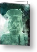 Artist Sculpture Greeting Cards - Captain Snowman Sea Captain Greeting Card by Yoo Choong Yeul
