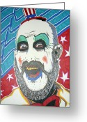 Bowtie Drawings Greeting Cards - Captain Spaulding Greeting Card by Michael Toth