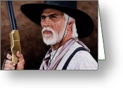 Old West Greeting Cards - Captain Woodrow F Call Greeting Card by Rick McKinney