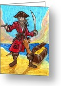 Caribbean Art Pastels Greeting Cards - Captains Treasure Greeting Card by William Depaula