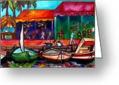 Tropical Beach Painting Greeting Cards - Captains Walk Greeting Card by Patti Schermerhorn