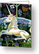 Unicorn Art Greeting Cards - Captive Unicorn Greeting Card by Genevieve Esson