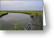 Foot Bridge Greeting Cards - Captree Wetlands Foot Bridge Greeting Card by Christopher Kirby
