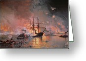 Louisiana Greeting Cards - Capture of New Orleans by Union Flag Officer David G Farragut Greeting Card by Julian Oliver Davidson