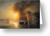 Aflame Greeting Cards - Capture of the Fort of Saint Jean dUlloa on 23rd November 1838 Greeting Card by Jean Antoine Theodore Gudin