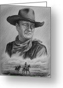 John Wayne Greeting Cards - Captured bw version Greeting Card by Andrew Read