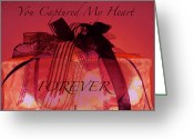Valentine Tenderness Greeting Cards - Captured My Heart Card Greeting Card by Debra     Vatalaro