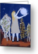 Reaching Greeting Cards - Capturing The Moon Greeting Card by Yulonda Rios