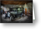 Travel Agent Greeting Cards - Car - Granpas Garage  Greeting Card by Mike Savad