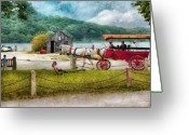 Cart Greeting Cards - Car - Wagon - Traveling in style Greeting Card by Mike Savad