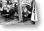 Washington D.c. Tapestries Textiles Greeting Cards - CAR ACCIDENT, c1919 Greeting Card by Granger