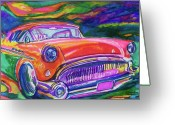 Car Hod Greeting Cards - Car and Colorful Greeting Card by Evelyn Sprouse Rowe