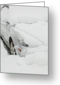 Flurries Greeting Cards - Car buried in snow Greeting Card by Thom Gourley/Flatbread Images, LLC