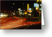 City Lights And Lighting Greeting Cards - Car Light Streaks Along A Busy Highway Greeting Card by Phil Schermeister