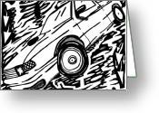 Learn To A Maze Greeting Cards - Car Maze  Greeting Card by Yonatan Frimer Maze Artist
