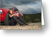 Tramping Greeting Cards - Car trouble in the middle of nowhere Greeting Card by Andre Babiak