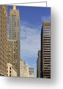 Chicago Landmarks Greeting Cards - Carbide and Carbon and Wrigley Building - Two Chicago Classics Greeting Card by Christine Till