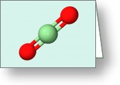 Co2 Greeting Cards - Carbon Dioxide Molecule Greeting Card by Dr Tim Evans