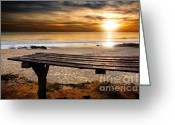 Ethereal Water Greeting Cards - Carcavelos Beach Greeting Card by Carlos Caetano