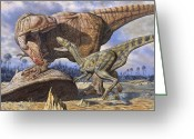 Dinosaurs Greeting Cards - Carcharodontosaurus Guards Its Kill Greeting Card by Mark Hallett