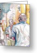 Expression Pastels Greeting Cards - Card Players in Napoli Greeting Card by Linette Childs