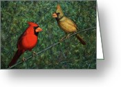 Cardinals Greeting Cards - Cardinal Couple Greeting Card by James W Johnson