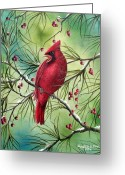 Berries Greeting Cards - Cardinal Greeting Card by David G Paul
