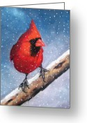 Woods Pastels Greeting Cards - Cardinal In Winter Greeting Card by Joyce Geleynse