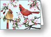 Cardinals Greeting Cards - Cardinals and Apple Blossoms Greeting Card by Johanna Lerwick