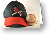 St.louis Cardinals Greeting Cards - Cardinals Cap and a Baseball Greeting Card by Tim Elliott
