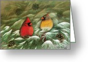 Cardinals In Snow Greeting Cards - Cardinals in Winter Male and Female Cardinals Greeting Card by Judy Filarecki
