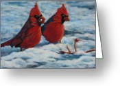 Cardinals In Snow Greeting Cards - Cardinals in winter Greeting Card by Tracey Hunnewell