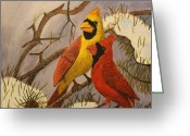 Pine Trees Painting Greeting Cards - Cardinals Greeting Card by Isaac Mullens