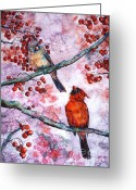 December Painting Greeting Cards - Cardinals  Greeting Card by Zaira Dzhaubaeva