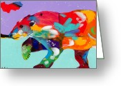 Bears Painting Greeting Cards - Careful Where You Tread Greeting Card by Tracy Miller