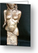 Clay Sculpture Greeting Cards - Caribbean Beauty Greeting Card by Wayne Headley