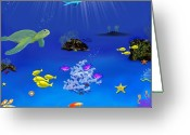Dolphin Digital Art Greeting Cards - Caribbean Blue Greeting Card by Tanya Van Gorder