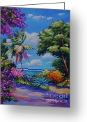 Bougainvillea Greeting Cards - Caribbean Colours Greeting Card by John Clark