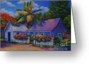 7 Mile Greeting Cards - Caribbean Cottage Greeting Card by John Clark