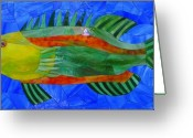 Stained Glass Glass Art Greeting Cards - Caribbean Grouper Greeting Card by Charles McDonell