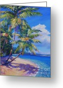 Winter Painting Greeting Cards - Caribbean Paradise Greeting Card by John Clark